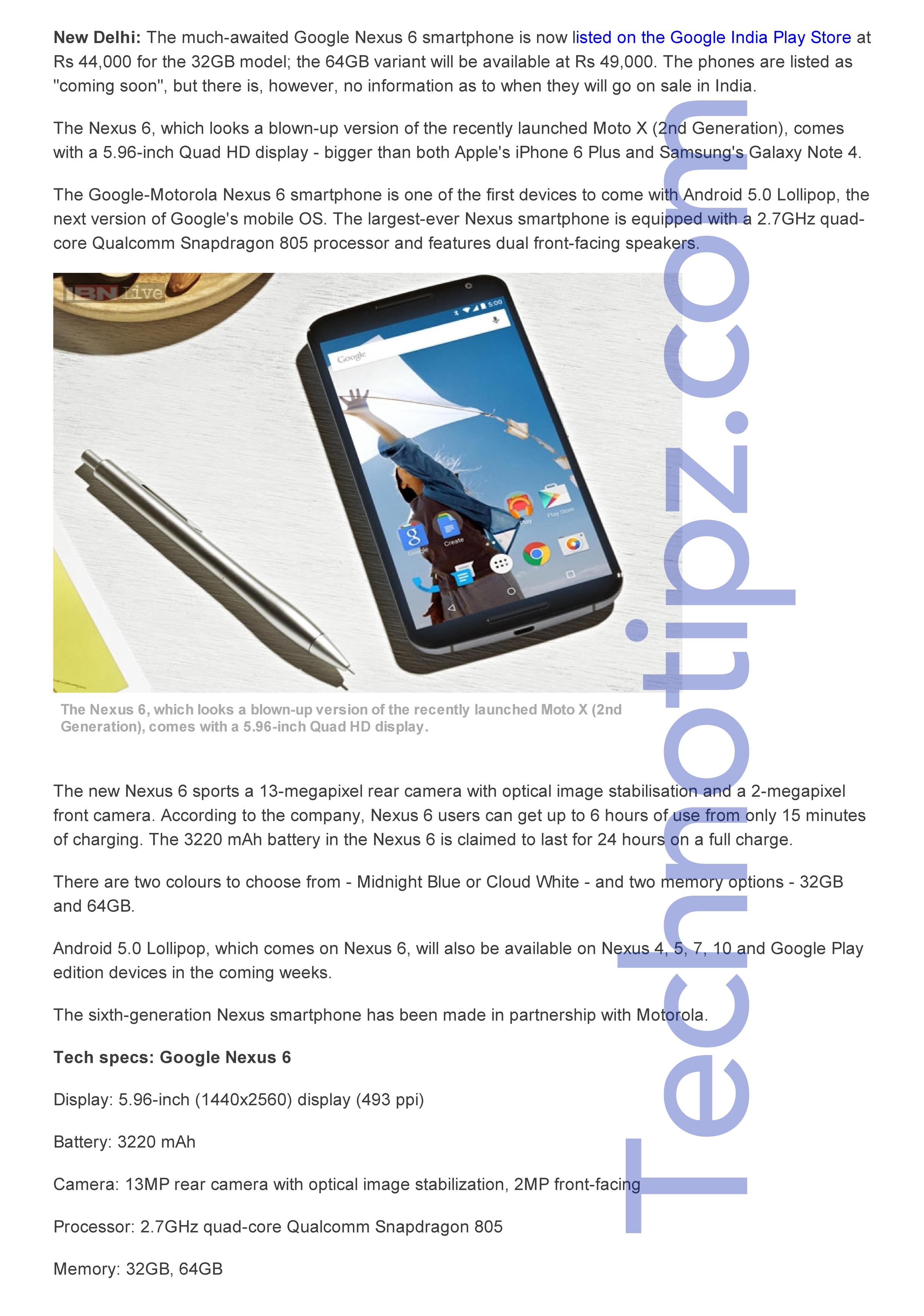 Google's Motorola Nexus 6 releasing in India at Rs 44,000 and Rs 49,000